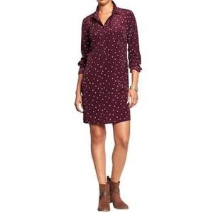 Old Navy Maroon Print Popover Shirt Dress